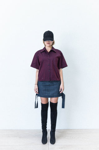 SHORT SLEEVE LAPEL SHIRT IN STRIPED COTTON SHIRTING