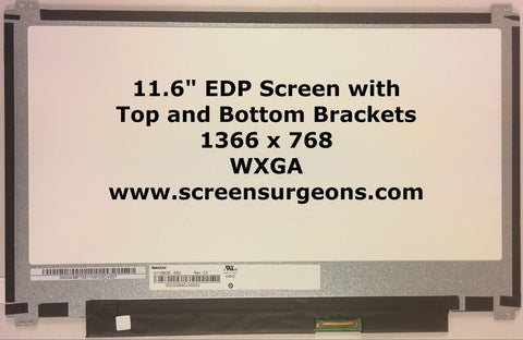 "11.6"" LED EDP Backlight Laptop LCD Panel (Top & Bottom Brackets) - Screen Surgeons"