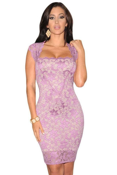 Juanita Lace Illusion Dress Purple Lilac - Budget Babe Couture