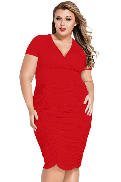 Sophia Plus Curvaceous Cherry Plus Dress 1X - Budget Babe Couture