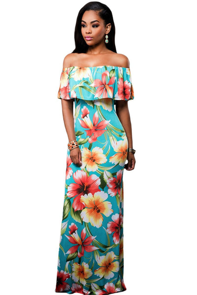 Faith Flowing Floral Maxi Dress in Teal Blue