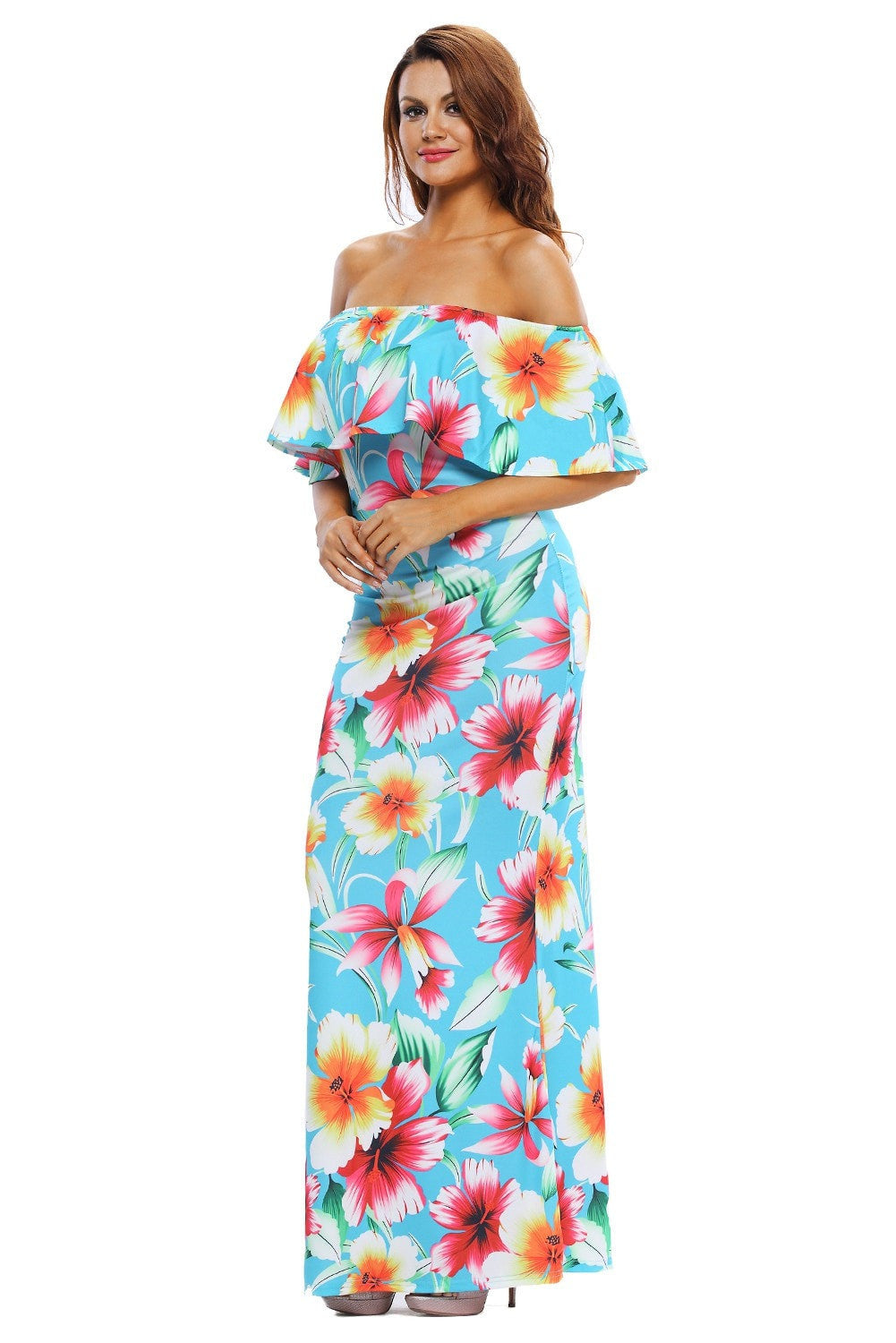Faith Flowing Floral Maxi Dress in Teal Blue - Budget Babe Couture