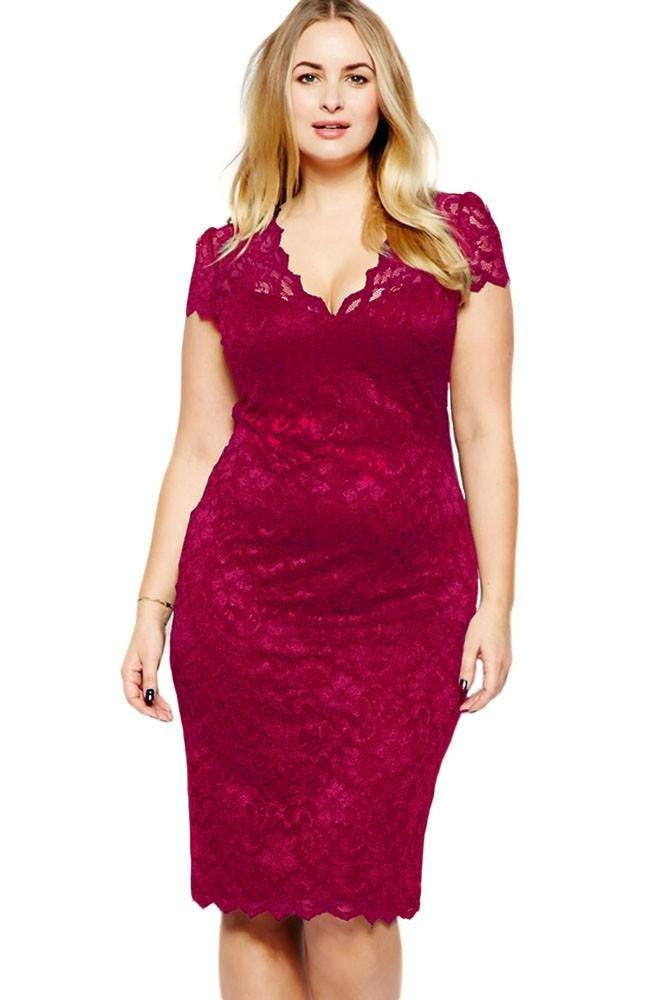 Cherie Lace Plus Dress 1X-3X - Budget Babe Couture
