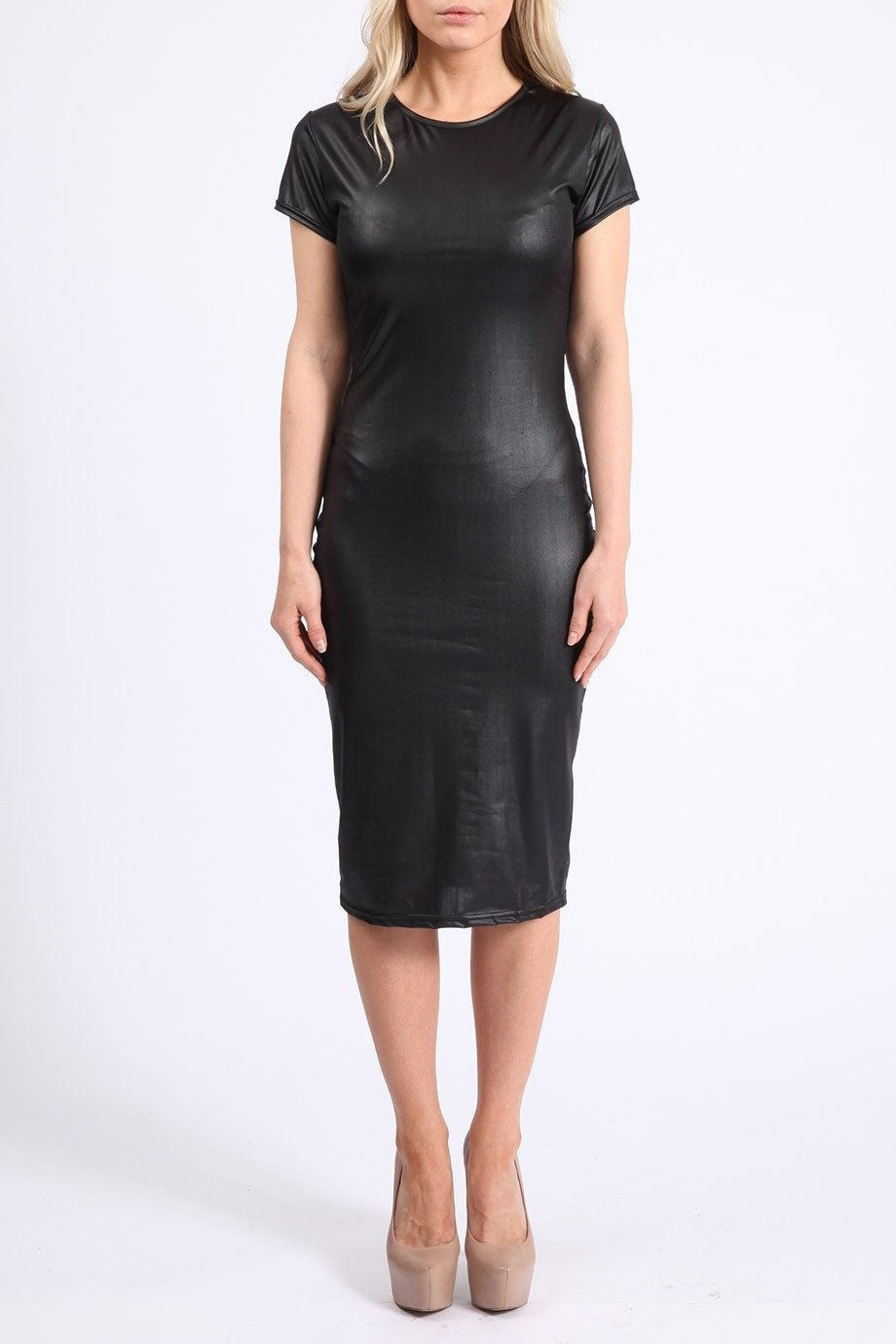 Kim K Leather Midi Dress - Budget Babe Couture