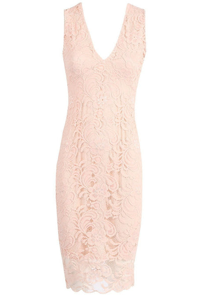 Paula Plunge Floral Lace Dress - Budget Babe Couture