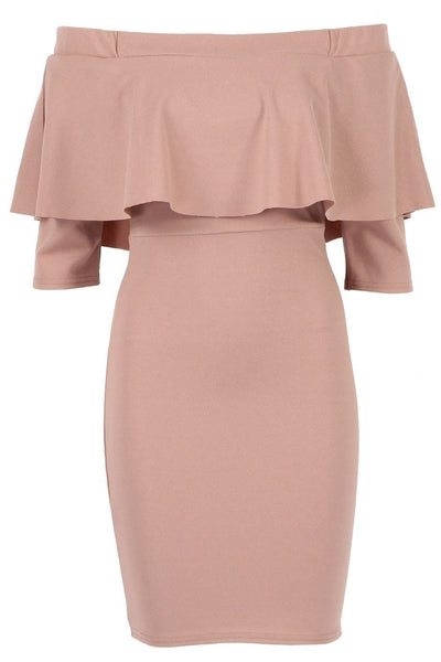 Rose Frill Bardot Bodycon Dress - Budget Babe Couture
