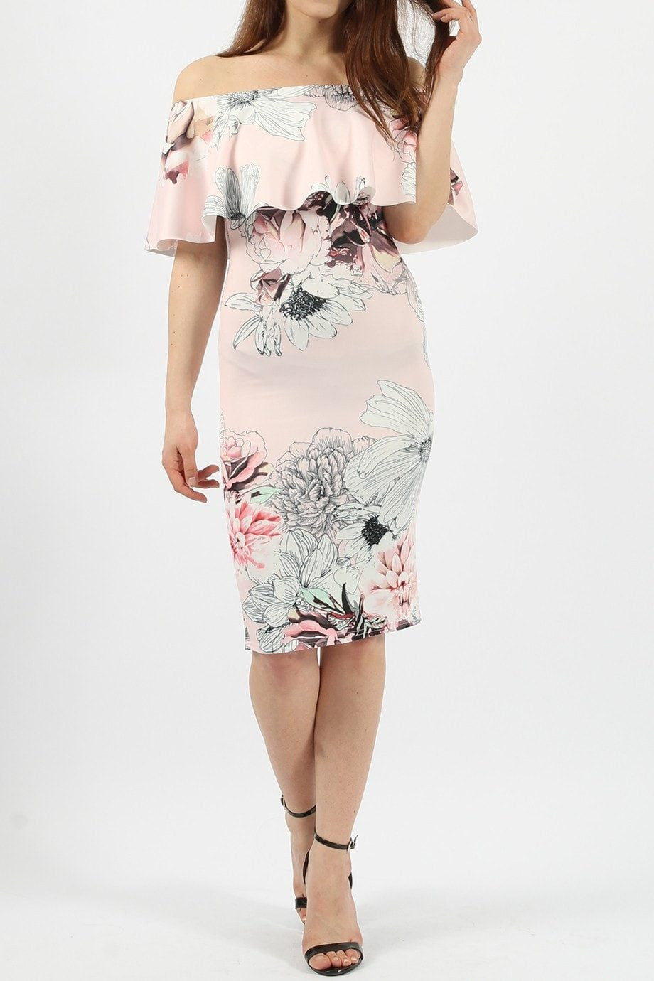 Sonya Frill Floral Dress - Budget Babe Couture