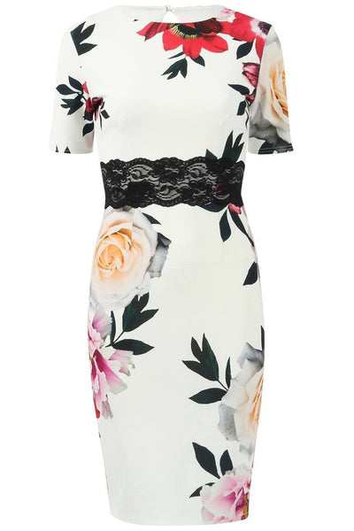 Frieda Floral Printed Lace Dress - Budget Babe Couture