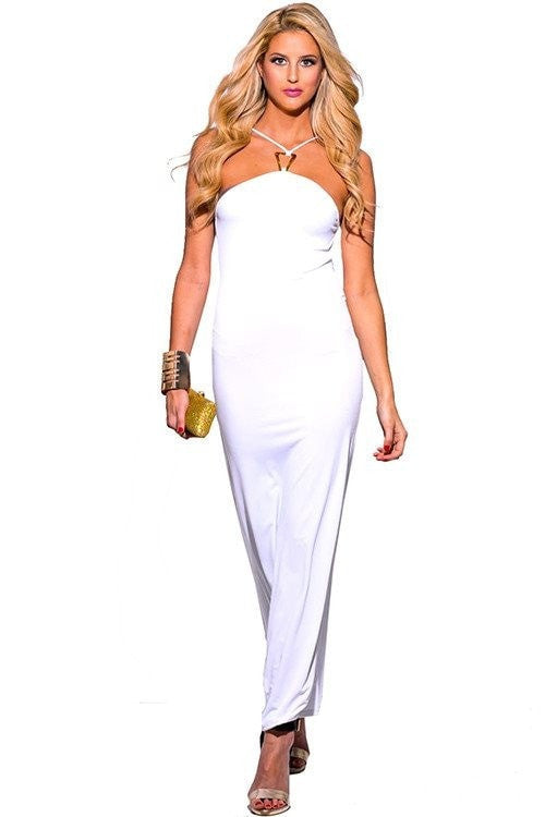 Goddess Long Maxi Dress White - Budget Babe Couture