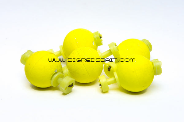 SNAP-ON ROUND FOAM FISHING FLOATS 3/4 Inch CHARTREUSE sku002