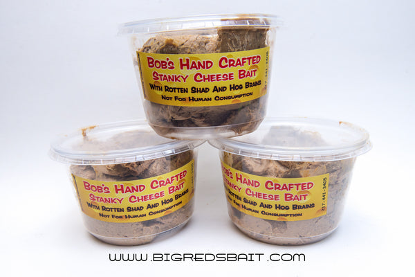Bob's Hand Crafted Stanky Cheese Bait, With Rotten Shad And Hog Brains