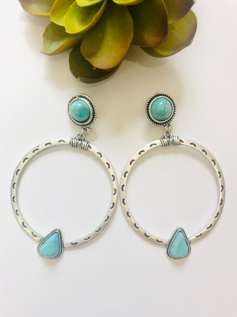 Turquoise and Antique Silver Earrings - Prairie Chic Boutique