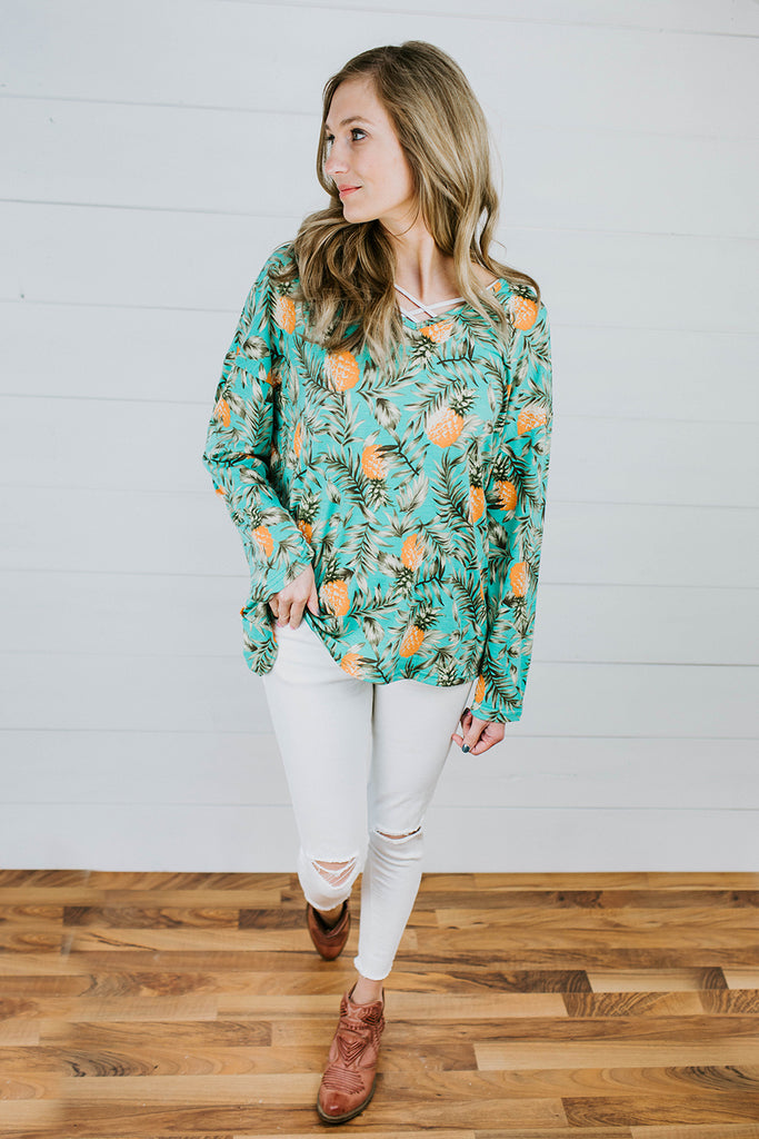 Pineapple Twisted Top - Prairie Chic Boutique