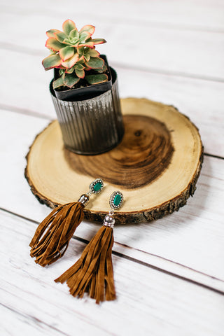 Stone Pendant with Snakeskin Tassel Necklace