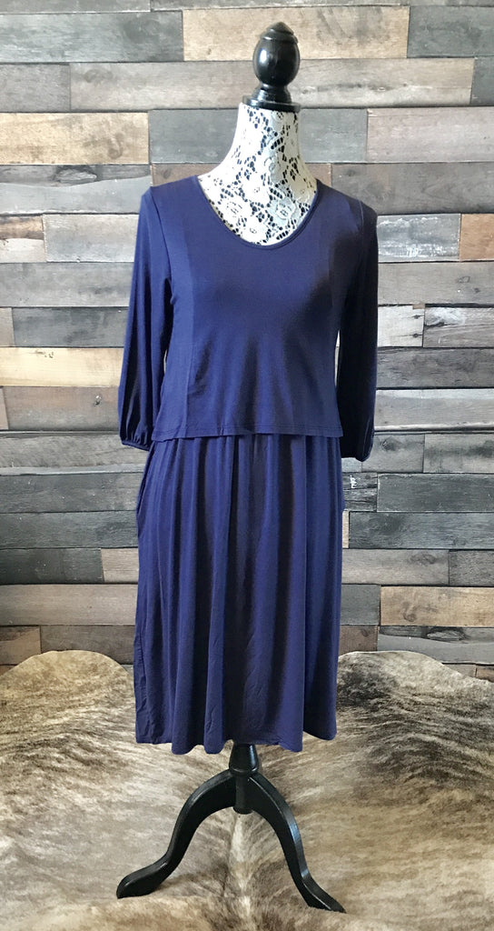 Nursing Friendly Dress-Navy Blue - Prairie Chic Boutique