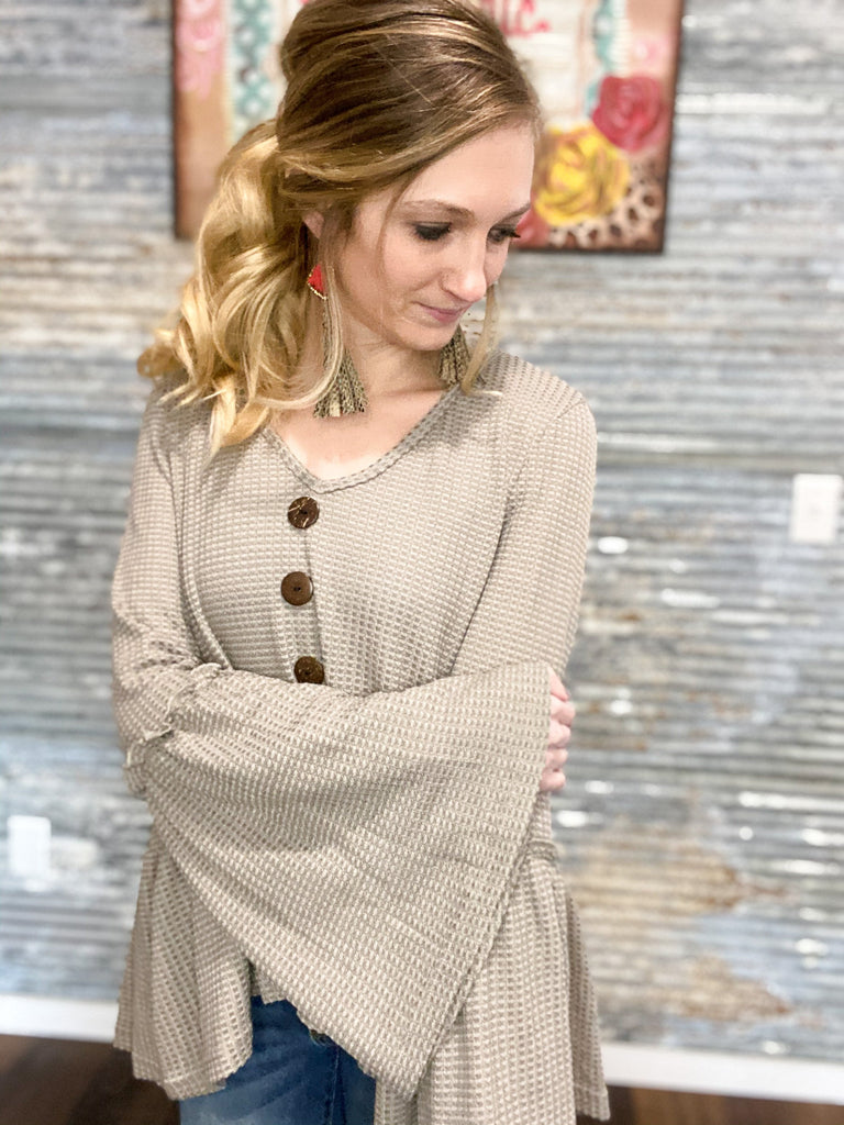 Bell Sleeve Button Detail Top - Prairie Chic Boutique
