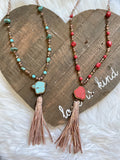 Stone Pendant with Snakeskin Tassel Necklace - Prairie Chic Boutique