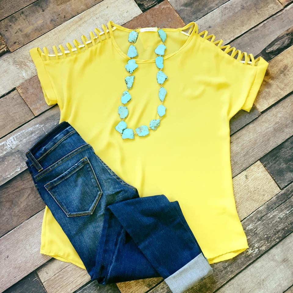 Chic Cutout Sleeve Top-Yellow - Prairie Chic Boutique