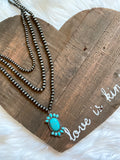 Layered Beaded Necklace with Turquoise Pendant - Prairie Chic Boutique