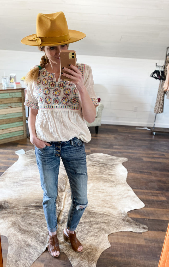 Floral Embroidered Woven Top - Prairie Chic Boutique