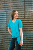 High Low Tunic Top-Turquoise - Prairie Chic Boutique