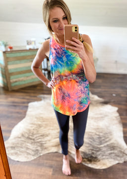 Cross Back Tank Top - Tie Dye