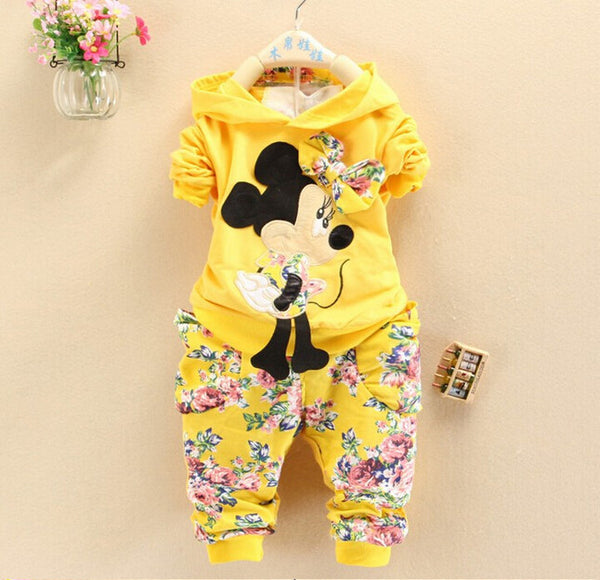 Cute Minnie Mouse Baby Girls Tracksuits Hoodies For 7-24 Months