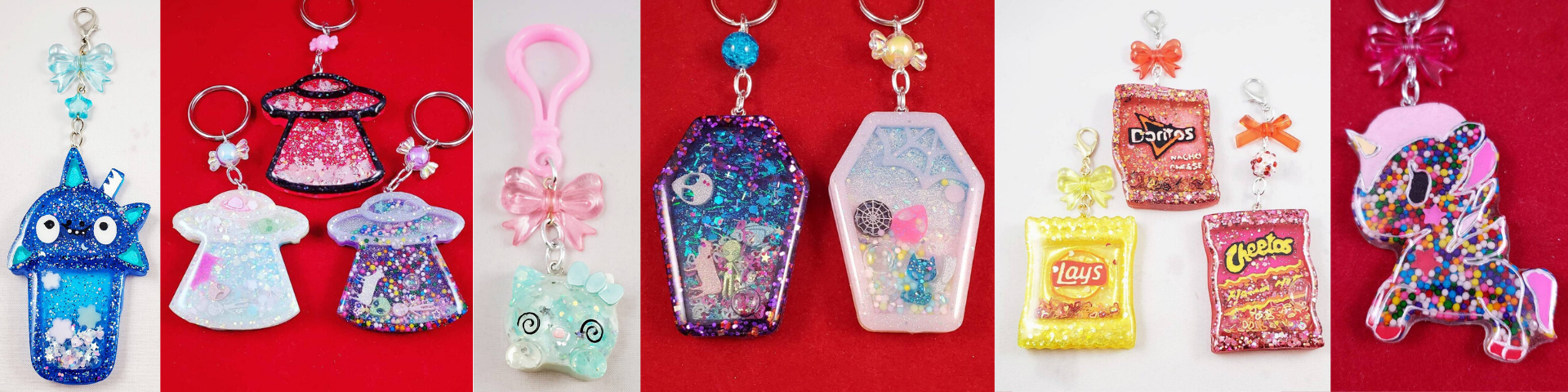 Resin charms made by Hallie Leigh