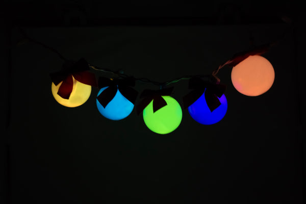 String of multi-color glow in the dark bulbs