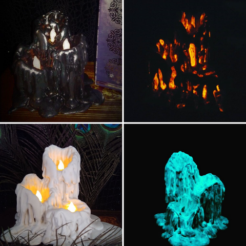 Various glow in the dark candles, in the daytime and in the dark