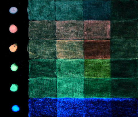 Color palette that shows what various fluorescent colors of glow in the dark paint look like at night or in the dark