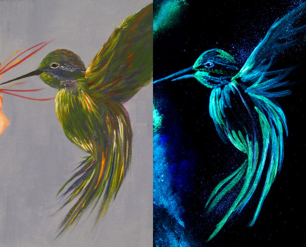Side by side images of a glow in the dark acrylic painting of a hummingbird, daytime and nighttime views