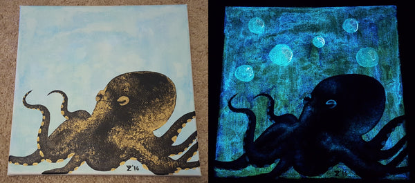 Glow in the dark fluorescent octopus painting in daylight and in the dark