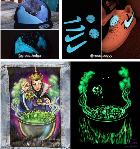 Various articles of clothing that have glow in the dark paintings on them