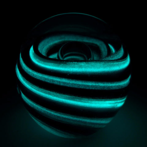 glowing glass blue twist figurine