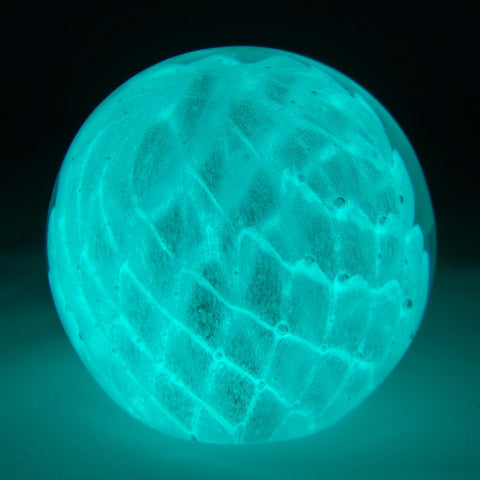 glowing glass clear web paperweight