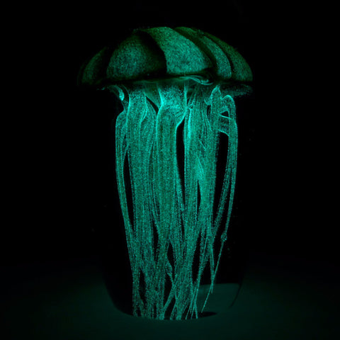 large glow in the dark glass jellyfish