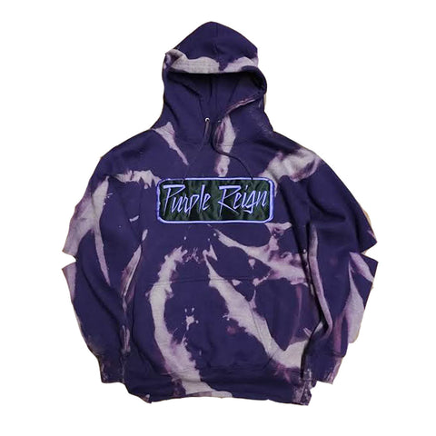 "Rock Hard ""Purple Reign"" Patched Distressed Hoodie"