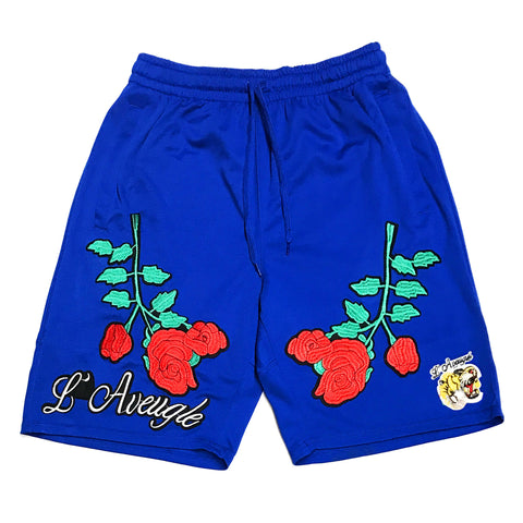"L Avengles ""Antique Rose"" Mesh Shorts ""Royal"""