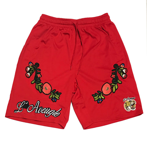 "L Avenges ""Flower"" Mesh Shorts ""Red"""