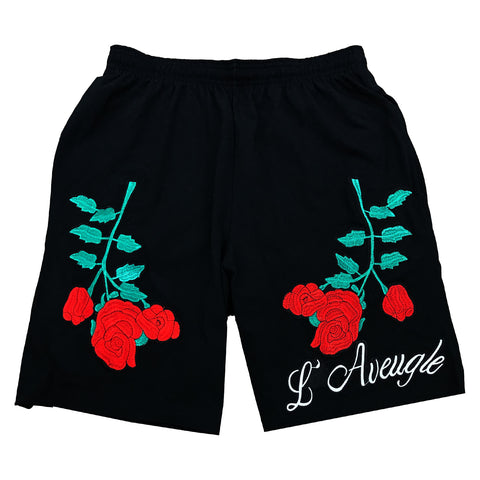 L'Avengle Rose Embroidered Shorts