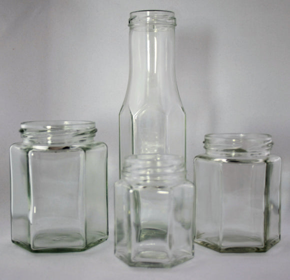 Hexagonal Glass Jars and Bottles