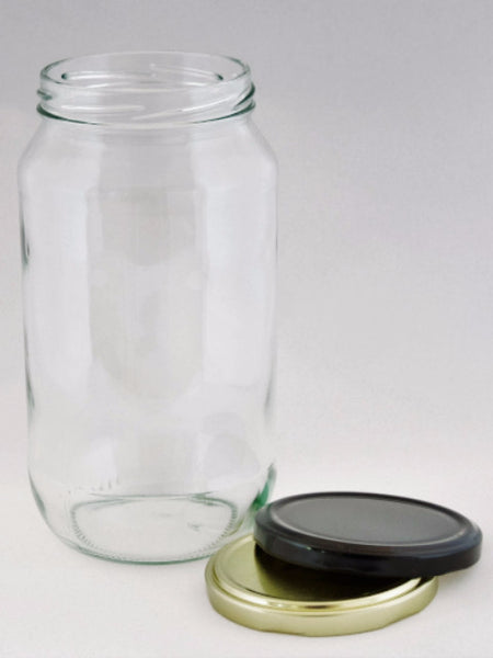 Jar, 1000ml Round Glass, 82mm Twist finish, ctn of 26, including caps