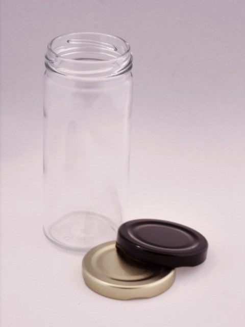 Products / Jar, 250ml Tall Round Glass, 58mm Twist finish, carton of 98, including caps