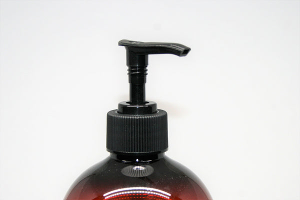 28mm Black Lotion Pump, suits 500ml Amber bottles. Pack of 25