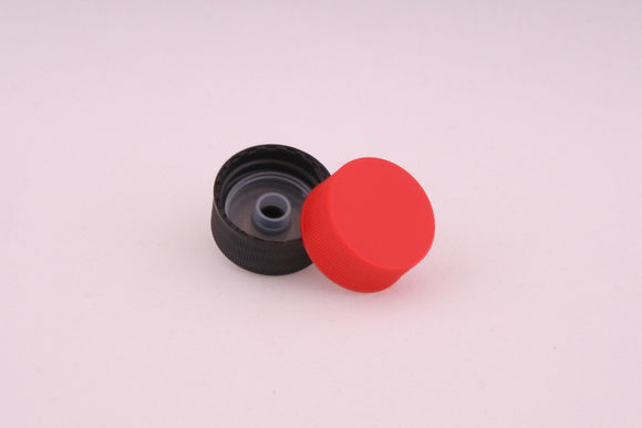 28mm Poly Screw Cap; Black with Pourer Insert; Plain Red