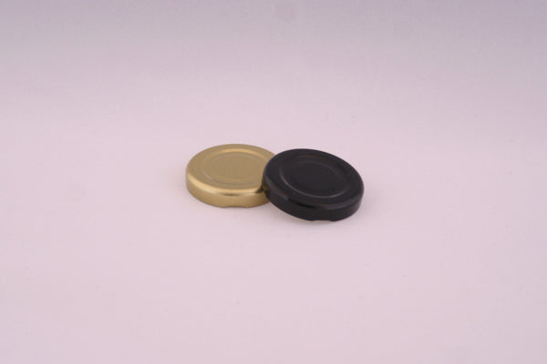 43mm Metal Twist Cap, Black, Gold