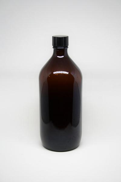Bottle, 1000ml Amber Glass, 31mm Screw finish, carton of 12, including closures