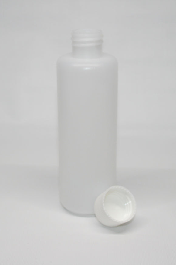 Bottle, 250ml HDPE plastic, carton of 200, including 28mm White cello wadded caps