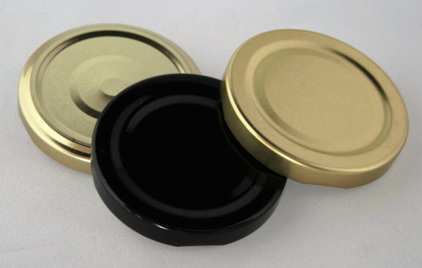 63mm Metal Twist Cap, Black, Gold, Gold Pop Button
